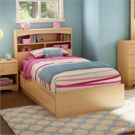 South Shore Popular Mates Twin Bed Natural Maple