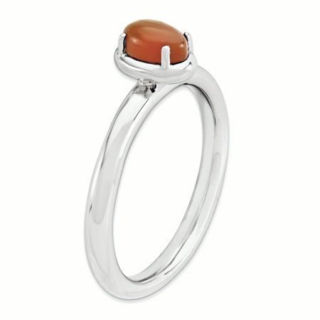 925 Sterling Silver Red Agate Band Ring Size 8.00 Stone Stackable Gemstone Natural Fine Jewelry Gifts For Women For Her - image 1 of 7
