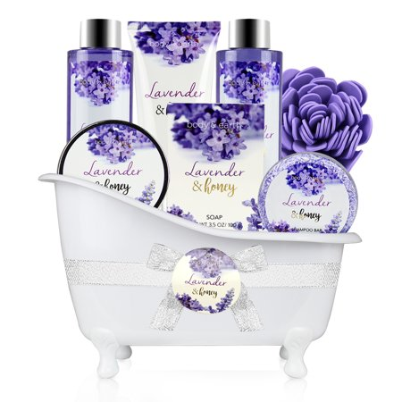 Bath and Body Set - 8 Pcs Bath Spa Gift Sets with Lavender and Honey Scent, Includes Bubble Bath, Shower Gel, Soap, Body Lotion, Bath Salt and More, Perfect Gift Basket for Pampering and Relaxation ()