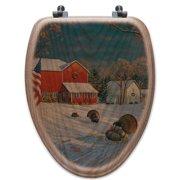 WGI-GALLERY The Good Old Barn Oak Elongated Toilet Seat