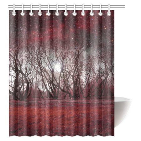 POP Red Landscape Tree Shower Curtain, Mystical Red Forest Galaxy Night Decorative Bathroom Shower Curtain Set 60x72 inch - image 2 of 2
