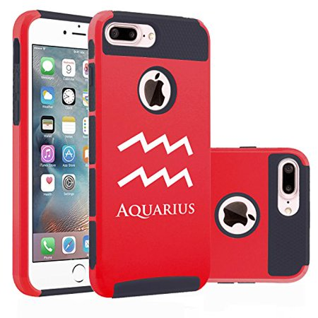 For Apple Iphone  7 Plus  Shockproof Impact Hard Soft Case Cover Aquarius Zodiac Horoscope Birth Sign  Red