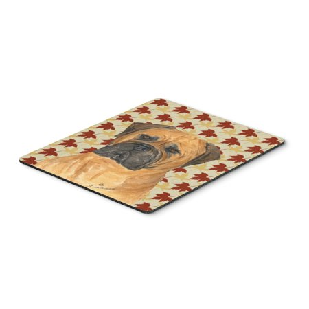 Bullmastiff Fall Leaves Portrait Mouse Pad, Hot Pad or Trivet