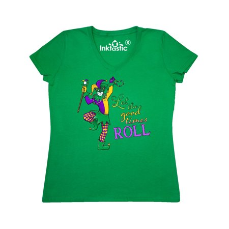 Let the Good Times Roll mardi gras jester Women's V-Neck T-Shirt - Mardi Gras Outfits For Women