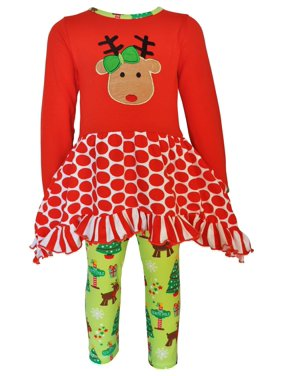 Ann Loren AnnLoren Girls Christmas Reindeer Tunic and Holiday Legging Set