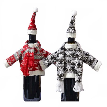 Set of 2 Wine Bottle Sweater Scarf & Hat Sets - Christmas Bottle Gift Covers