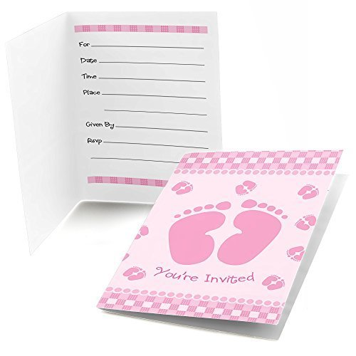 Baby Feet Pink - Fill In Baby Shower Invitations (8 count)