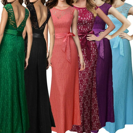 Sexy Dance Women Deep V-back Bridesmaid Maxi Long Dress Formal Bodycon Cocktail Party