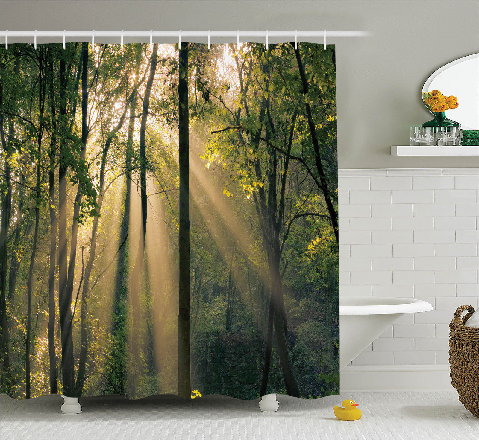 Farm House Decor Shower Curtain Set, Morning Sunrays Shining Through Trees Summertime Countryside Scenic View, Bathroom Accessories, 69W X 70L Inches, By Ambesonne