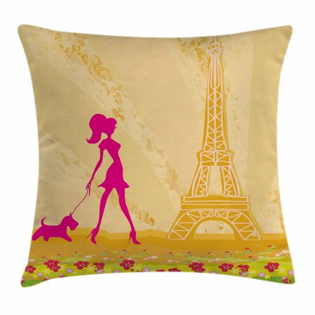 Teen Room Decor Throw Pillow Cushion Cover, Pink Silhouette of A Girl with the Dog Eiffel Tower in Paris Design, Decorative Square Accent Pillow Case, 18 X 18 Inches, Apricot Hot Pink, by Ambesonne](Eiffel Tower A Girl)