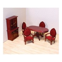 Melissa & Doug Classic Wooden Dollhouse Dining Room Furniture (6 pcs) - Table, Armchairs, Hutch