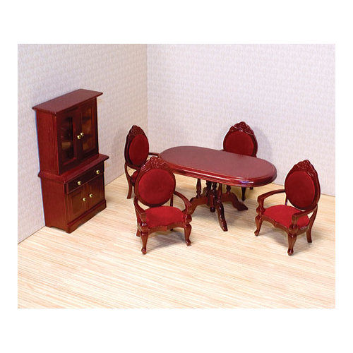 Melissa Doug Classic Wooden Dollhouse Dining Room Furniture 6 Pcs