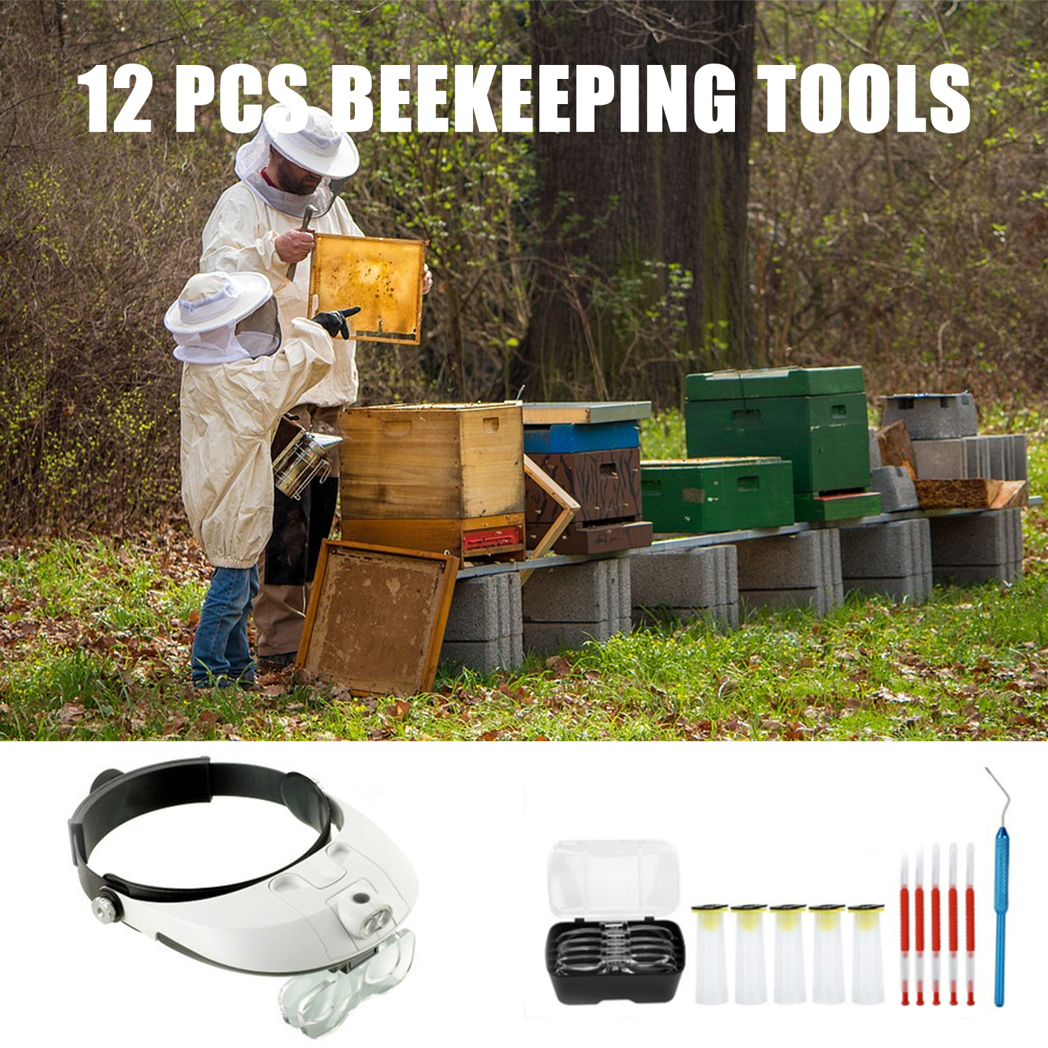 1x Beekeeping Bee Moving Magnifying Head-mounted Magnification Mirror Lens Home