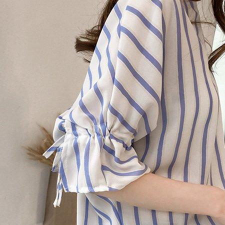 Comfortable Seven-Quarter Sleeve Stripe Printed Women Chiffon Shirts Female Daily Wear Turn-Down Collar Shirt Tops - image 3 of 8