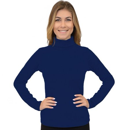 Women's Regular and Plus Size Microfleece Long Sleeve Turtleneck Top - Medium (4-6) / Navy