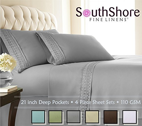 Southshore Fine Linens® 4-piece 21 Inch Deep Pocket Sheet Set with Beautiful Lace - STEEL GRAY - Queen