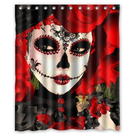 HelloDecor Dia De Los Muertos Shower Curtain Polyester Fabric Bathroom Decorative Curtain Size 60x72 (Dia De Los Muertos Fabric Alexander Henry)