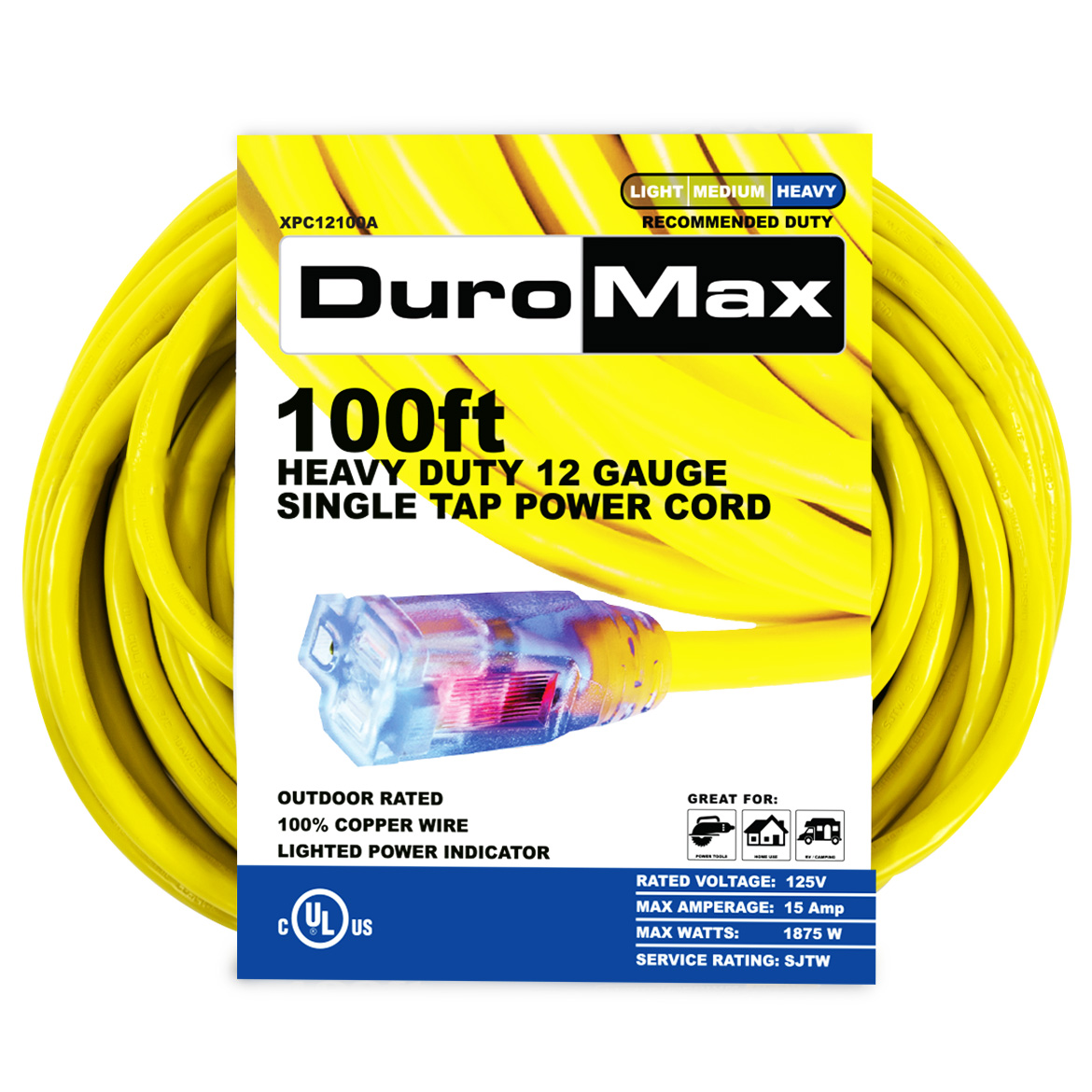 DuroMax XPC12100A 100-Foot 12 Gauge Single Tap Extension Power Cord