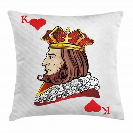 Casino Throw Pillow Cushion Cover, King of Heart Deck Romantic Graphic Play Card Design Gambling Good Luck Chance Theme, Decorative Square Accent Pillow Case, 24 X 24 Inches, Multicolor, by