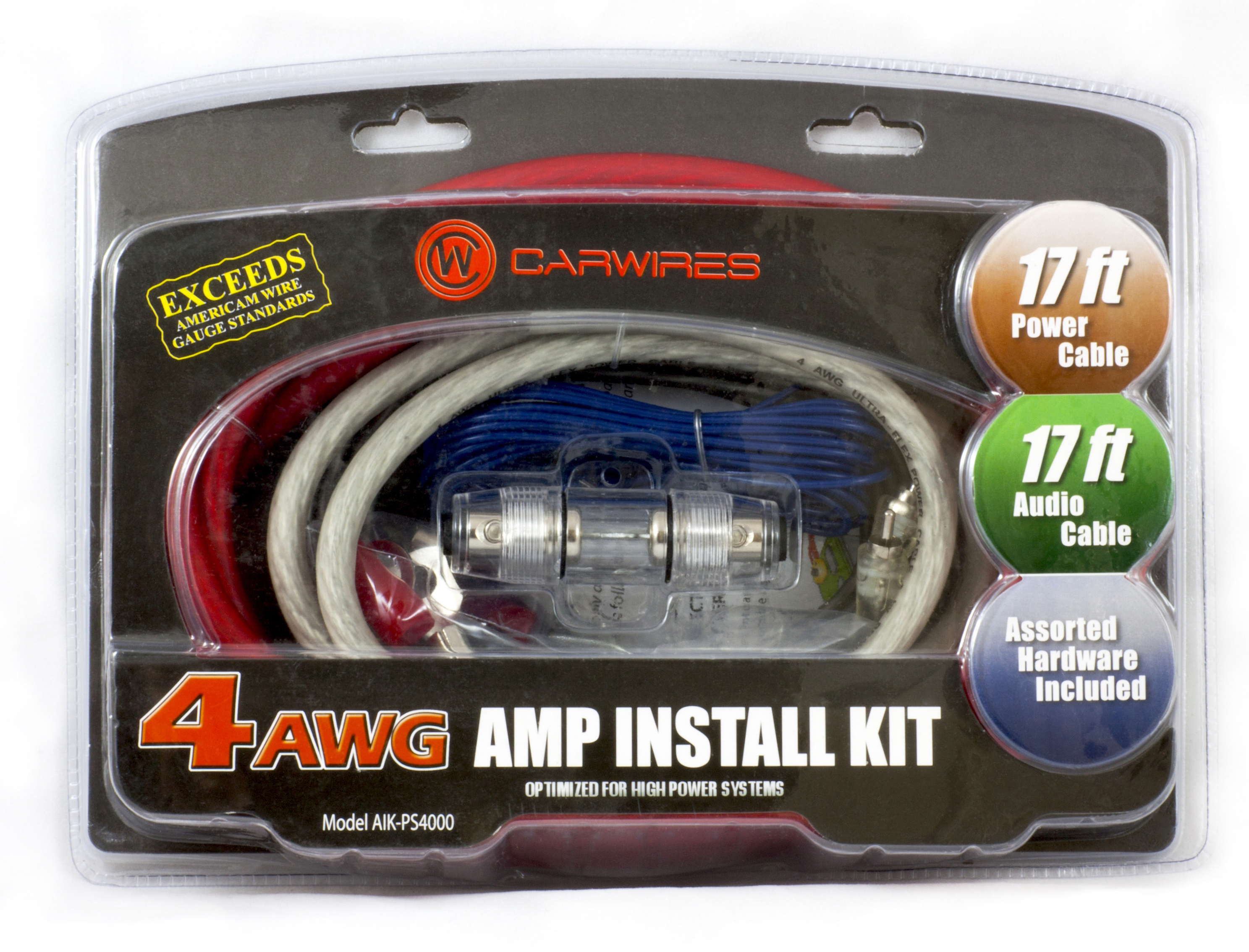 carwires aik ps4000 1000 watt 4 awg car amplifier install kit rh walmart com Amp Wiring Kit Best Amp Wiring Kit