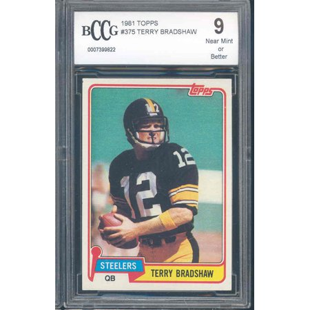 1981 Topps  375 Terry Bradshaw Pittsburgh Steelers Bgs Bccg 9