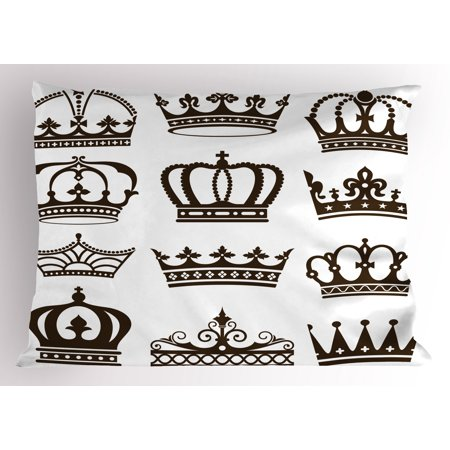 King Pillow Sham Symbol Of Royalty Crowns Tiaras For Reign Noble