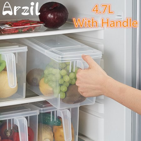 4.7L Clear Organizer Storage Bin with Handle Idear for Freezer Refrigerators, Cabinets & Food Pantry Kitchen Crisper Sealed Food Fruit Vegetable Wide Storage Bin Box + Lid
