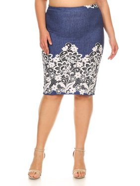a67477f8a Product Image Plus size Women's EMBO print knee length Skirt