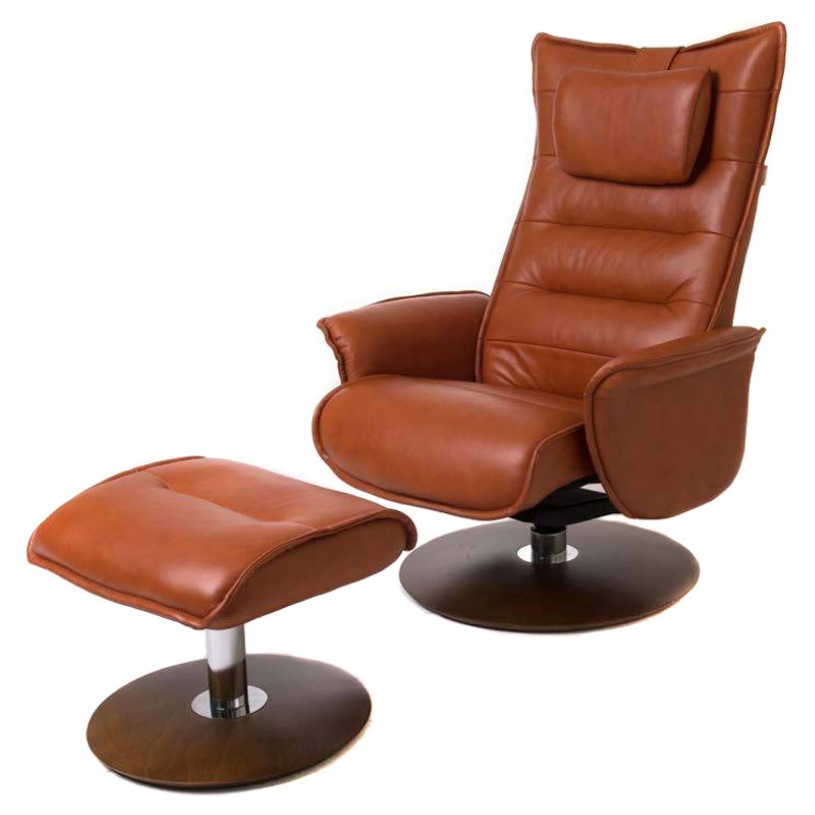 World Source Design Trento Leather Recliner and Ottoman