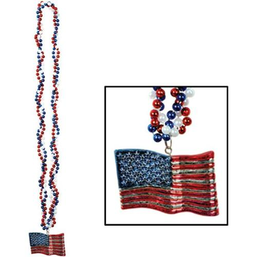 Bulk Buys Braided Beads with American Flag Medallion -  Case of 24