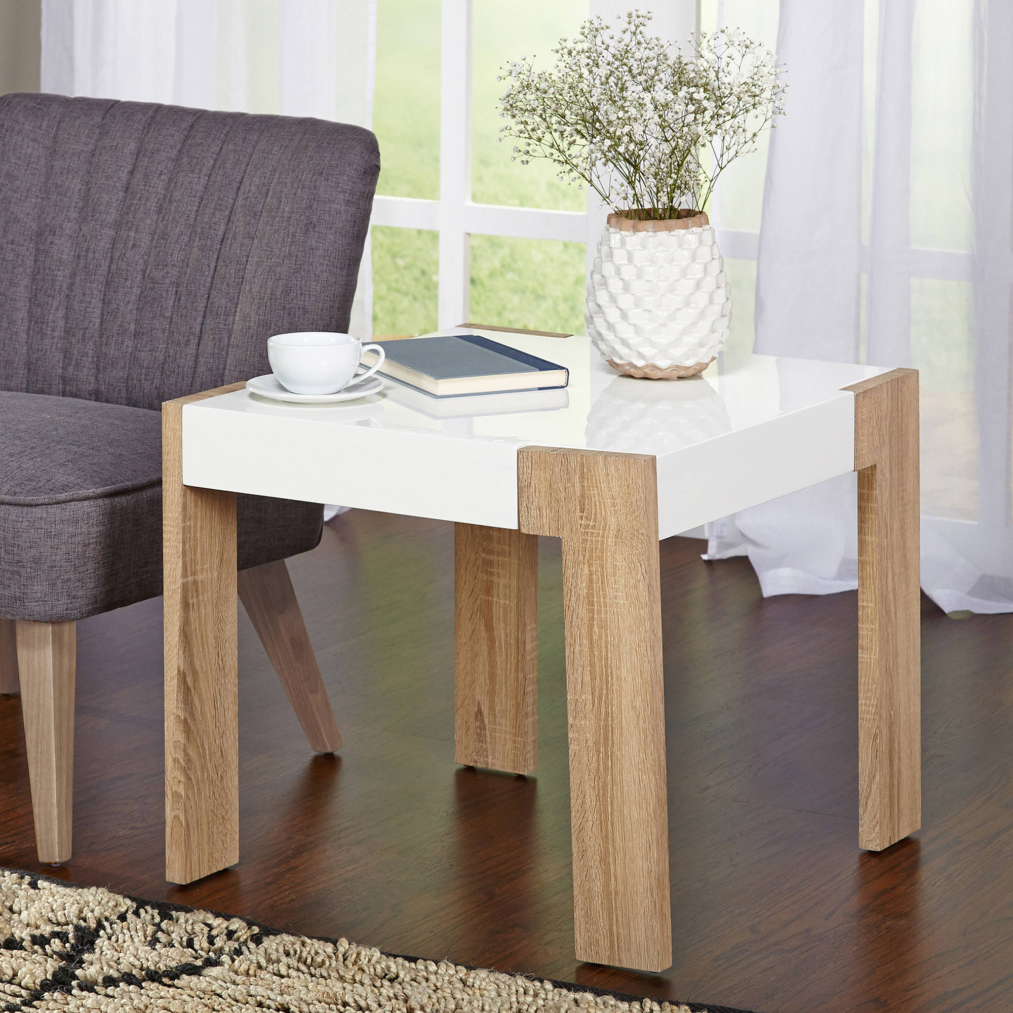 Smart End Table, White/Natural