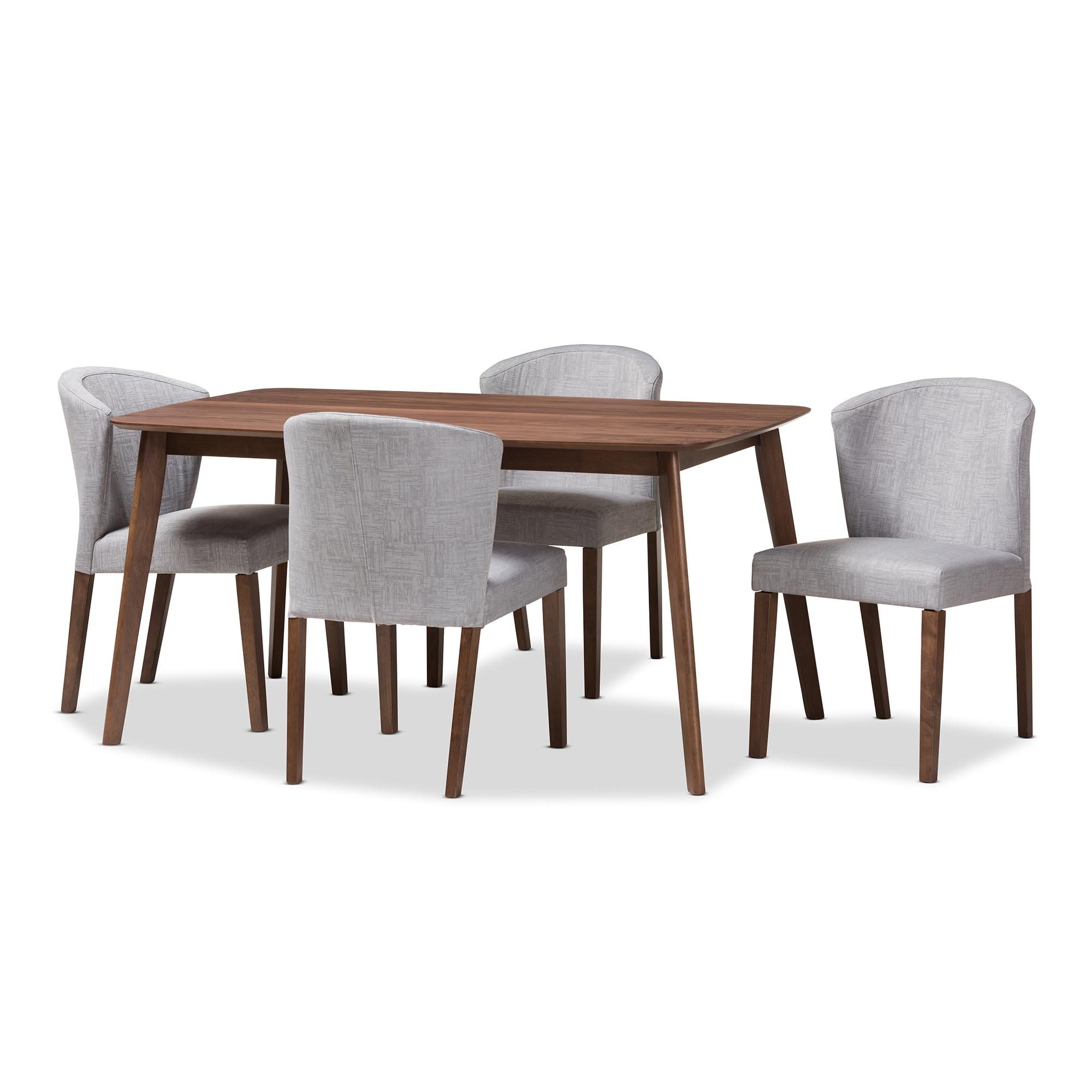 Baxton Studio Cassie Mid-Century Modern Walnut Wood Fabric 5-Piece Dining Set, Multiple Colors