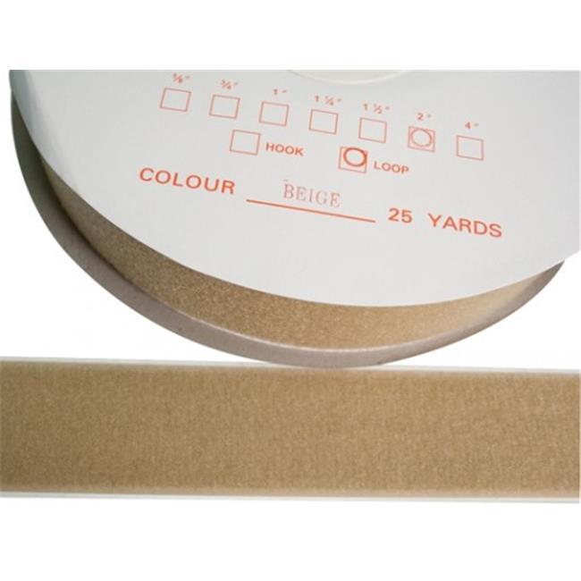 Fabrication Enterprises 24-7031T 2 in. Fabric Hook and Eye Self-Adhesive Loop, 25 yards Dispenser Box, Tan
