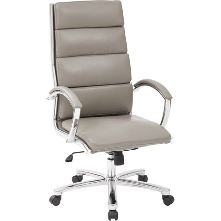 Office Star High Back Executive Smoke Faux Leather Chair With Polished Alumin
