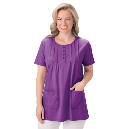 Pintuck Patch Pocket Front Tunic with Scoop Neckline and Button Accents One Pocket Tunic