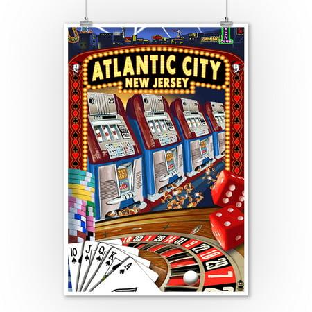 Casino Desert Scene (Atlantic City, New Jersey - Casino Scene - Lantern Press Poster (9x12 Art Print, Wall Decor Travel)