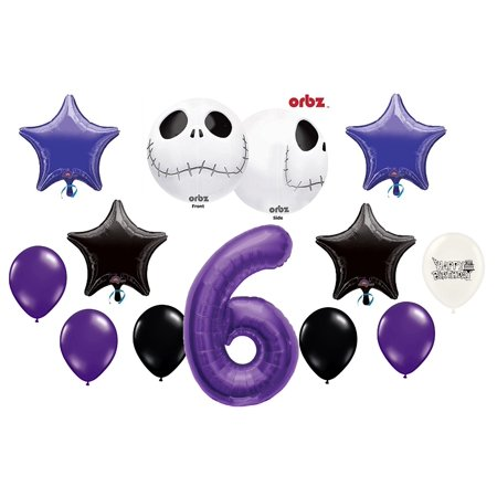 6th Birthday Party Jack Skellington Nightmare Before Christmas Balloon Bouquet - Nightmare Before Christmas Birthday Supplies