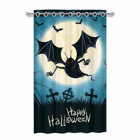 MKHERT Spooky Vampire on Cemetery Blue Grungy Halloween Background Illustration Blackout Window Curtain Drapes Bedroom Living Room Kitchen Curtains 52x84 inch - Windows Halloween Backgrounds