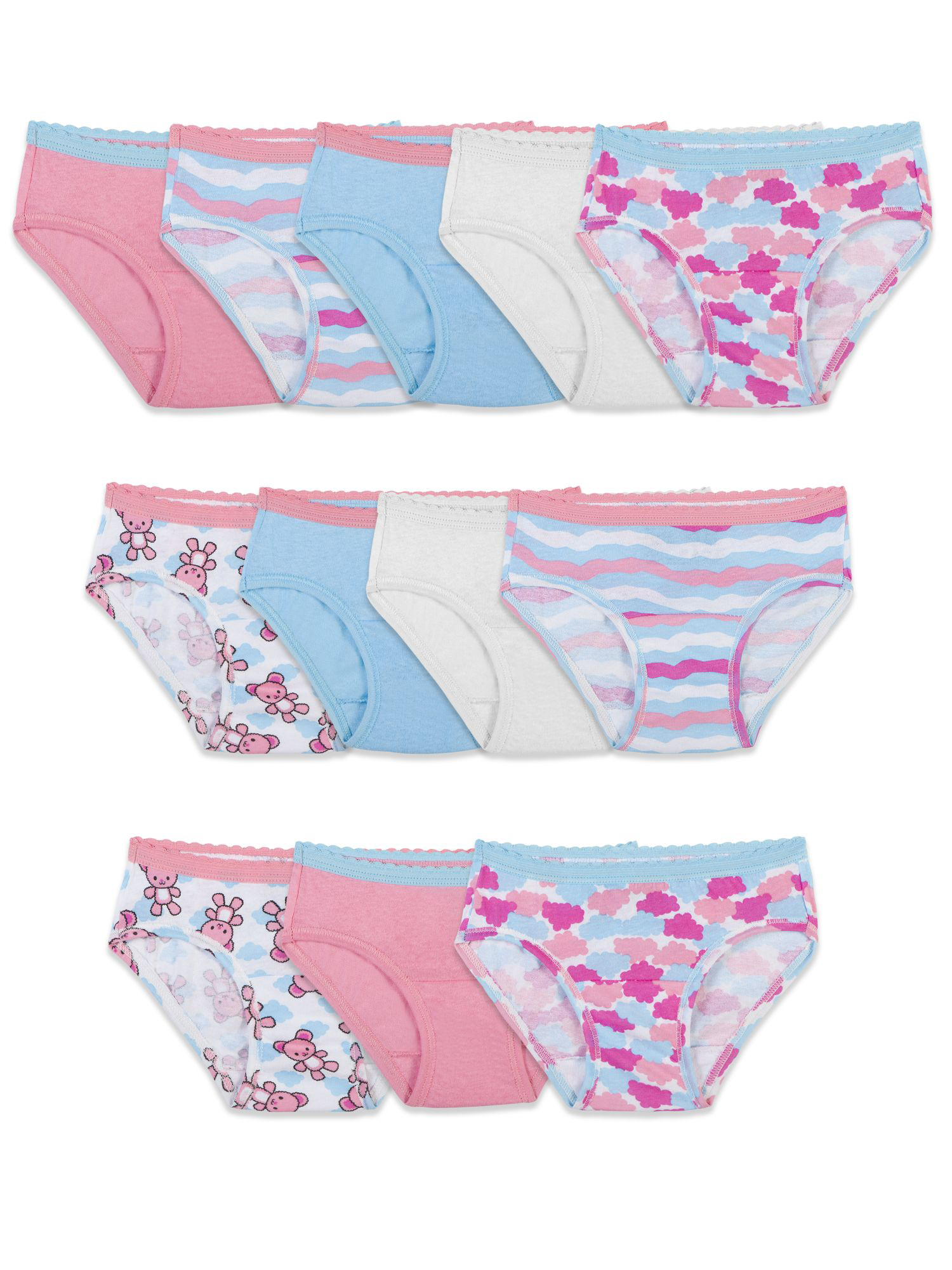 Assorted Color Cotton Hipsters, 12 Pack (Toddler Girls)