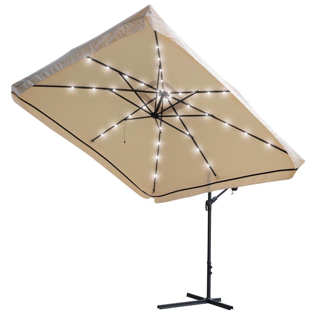 Yescom 9x9ft Square Solar Power Led Patio Offset Umbrella