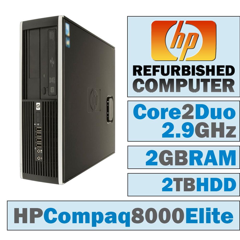 REFURBISHED HP Compaq 8000 Elite SFF/Core 2 Duo E7500 @ 2.93 GHz/2GB DDR3/2TB HDD/DVD-RW/WINDOWS 7 PRO 64 BIT