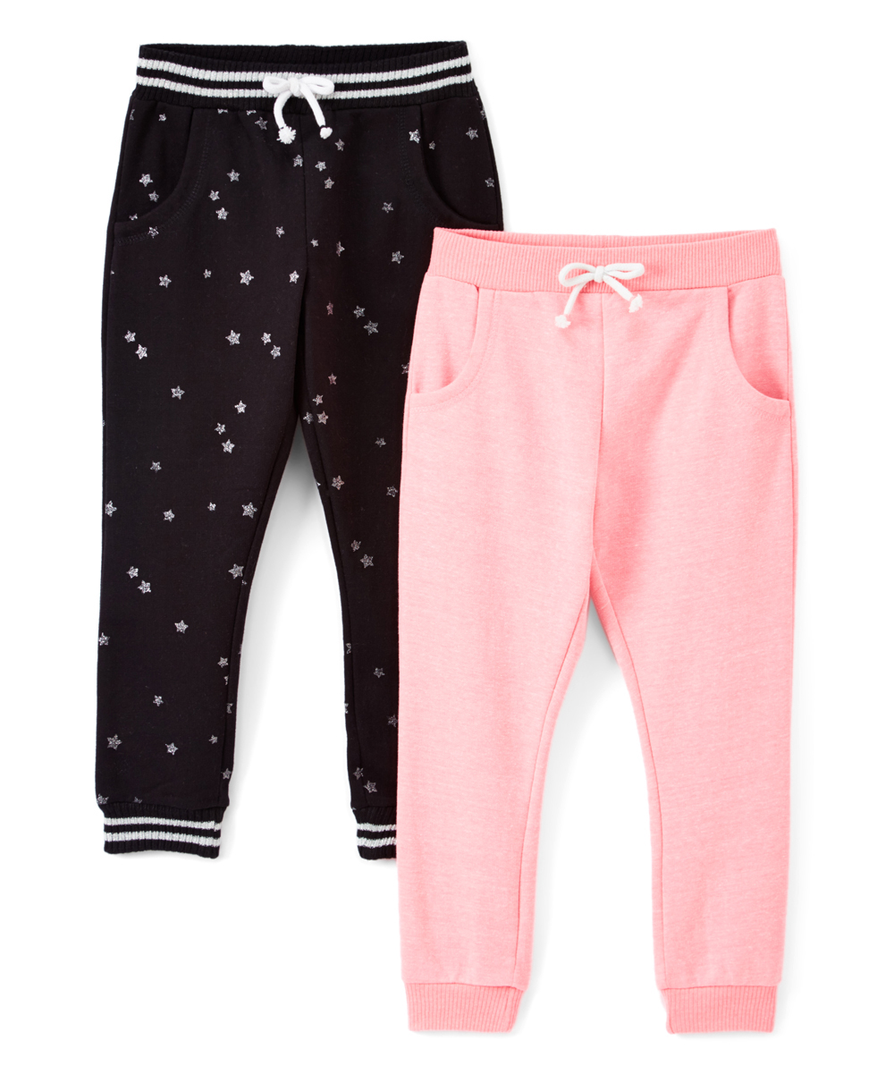Solid and Glitter Printed Fleece Joggers, 2-Pack (Little Girls & Big Girls)