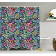 Navy And Blush Shower Curtain Old Fashioned Eastern Floral Paisley Motif Vintage Oriental Elements