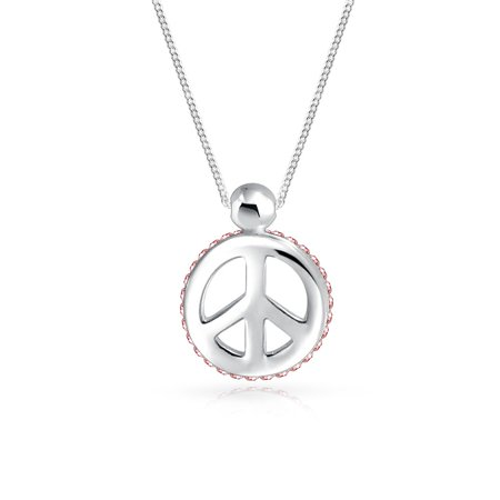 Pink Crystal Edge Small Peace Sign Pendant Necklace For Women For Teen 925 Sterling Silver