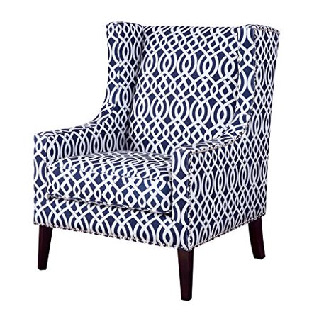 Enjoyable Modhaus Living Contemporary Wingback Upholstered Navy Blue And Off White Lattice Print Accent Chair With Nailhead Trim Includes Pen Uwap Interior Chair Design Uwaporg