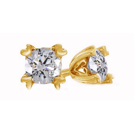 8ecf0caf4 Jewel Zone US - White Natural Diamond Solitaire Heart Prongs Stud Earrings  In 14K Solid Yellow Gold (0.2 Ct) - Walmart.com