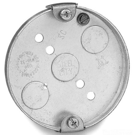 Steel City 56111-CFB Pre-Galvanized Steel Round Ceiling Fan Box with 1/2-Inch Knockouts and Romex Connector, Drawn Construction By Thomas Betts (Plastic Round Ceiling Fan Box)