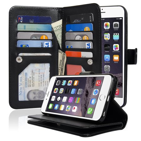 (NAVOR Detachable Magnetic Housing Flip Wallet Case for iPhone 6 Plus / 6S Plus [5.5 Inch])