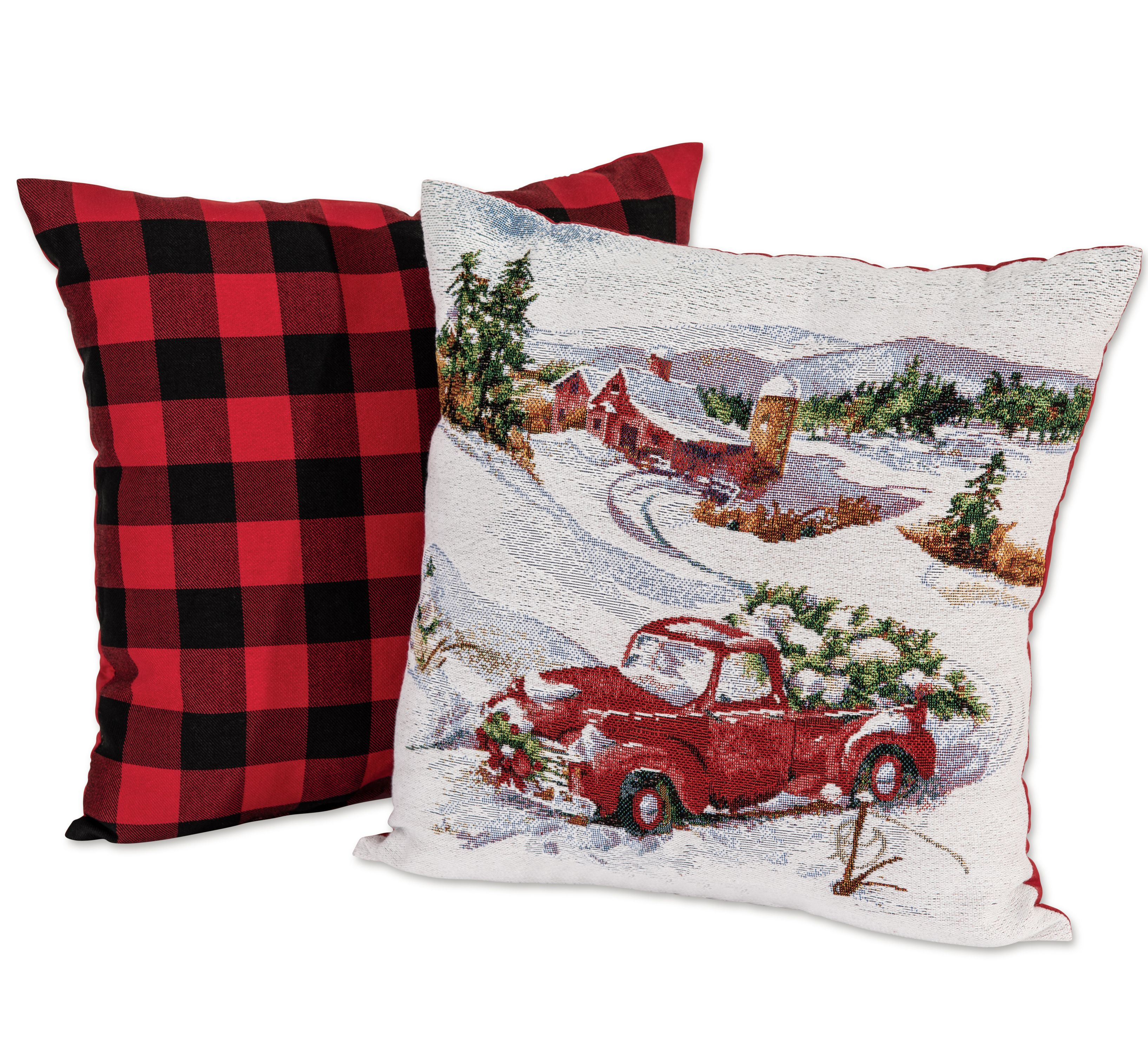 mainstays holiday truck plaid decorative throw pillow 17 x17 2 pack. Black Bedroom Furniture Sets. Home Design Ideas