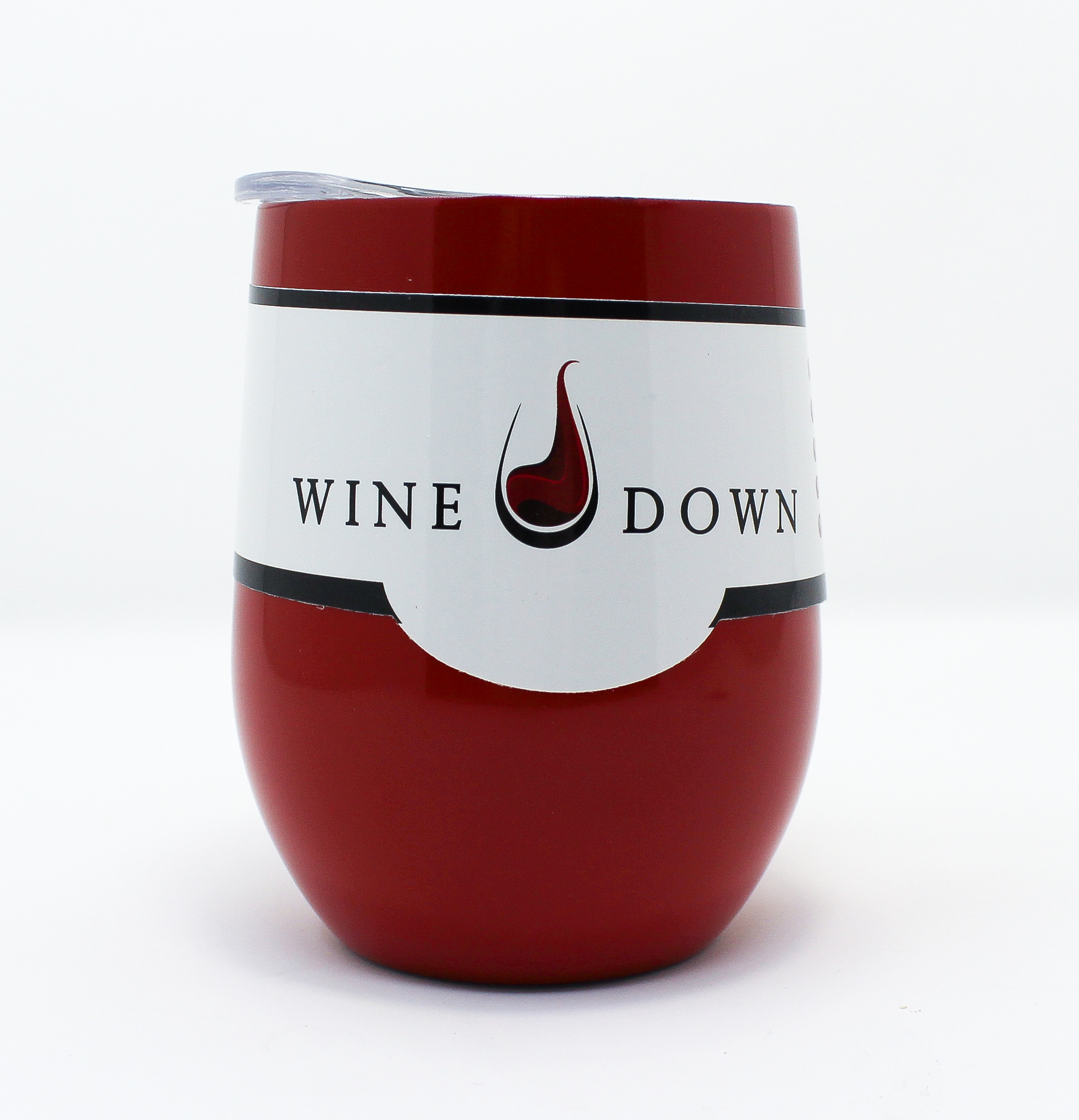 Wine Down 9 oz Stainless Steel Wine Glass Tumblers Eco-Friendly Clear Plastic Lid w/Rubber Seal Perfect for Outdoor